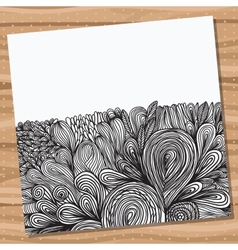 Card with hand drawn abstract doodles vector
