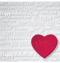 Grey background with red valentine heart vector