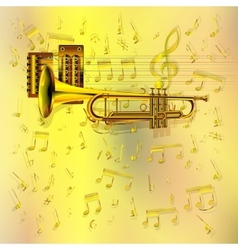 Music background with a trumpet and notes vector
