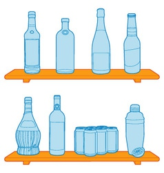 Bottles on a shelf vector