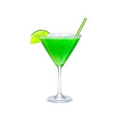 Martini glass with green cocktail vector