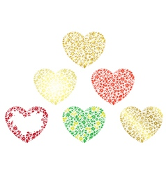 Set of floral hearts vector