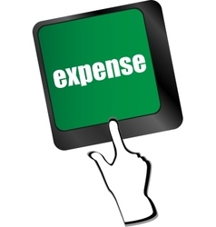 Expense button on the keyboard close-up vector