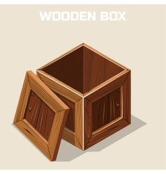 Open wooden box isometric vector