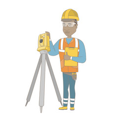 African surveyor builder working with theodolite vector