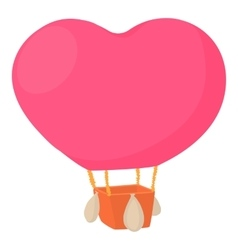 Air balloon in shape of heart icon cartoon style vector