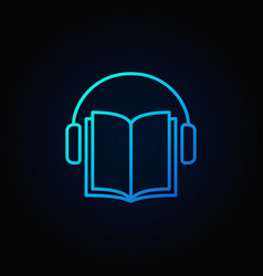 Audiobook blue icon vector