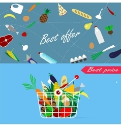 Basket full of healthy organic fresh and natural vector image