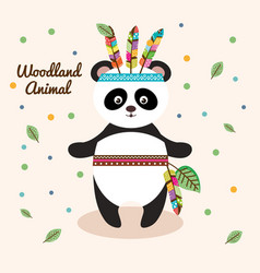 Bear panda woodland animal with feather crown vector