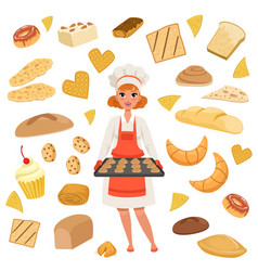 Beautiful woman baker standing with a baking tray vector