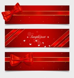 Card note with gift bows and ribbons vector image vector image