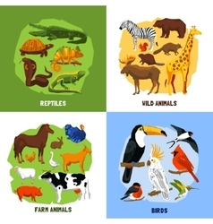 Cartoon 2x2 zoo images vector