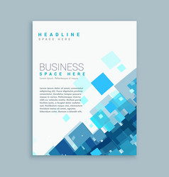 Clean business brochure template with blue mosaic vector