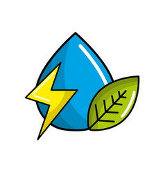 drop of water with energy sign and leaf vector image