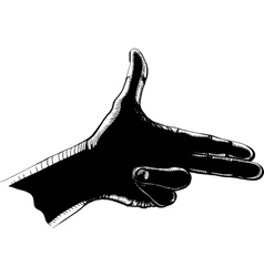 fingers shoot black vector image
