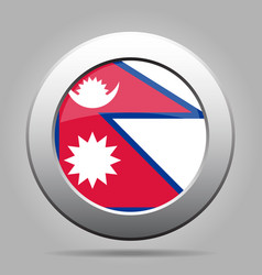 Flag of nepal shiny metal gray round button vector