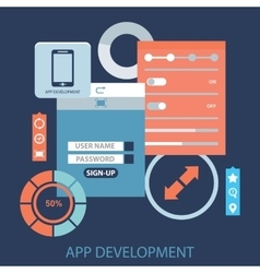 Flat design concept for app development with vector image vector image