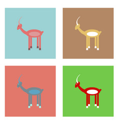 Flat icon design collection silhouette of a deer vector