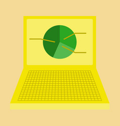 Flat icon on stylish background laptop chart vector