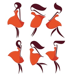 Girls and red dresses vector