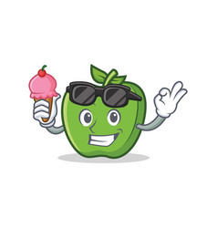 Green apple character cartoon with ice cream vector