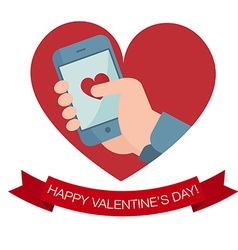 Hand holding mobile phone with heart icon vector