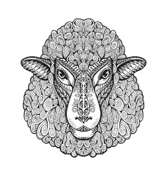 Head sheep ethnic patterns hand drawn vector