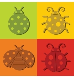 Ladybug icons on color background vector image