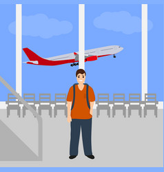Man at the international airport vector