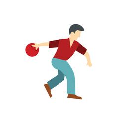 Man throws a bowling ball vector