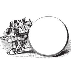 Men Kicking Circle vector image vector image