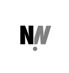 nn n n black white grey alphabet letter logo icon vector image vector image