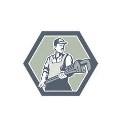 Plumber holding plumbing wrench retro vector