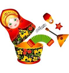 Russian tradition matryoshka doll vector image
