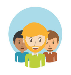 Set avatars men of different diversity over blue vector