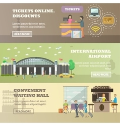 set of airport concept horizontal banners vector image vector image
