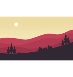 Silhouette of hill at the sunrise vector image vector image