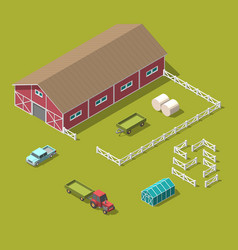 Traditional vintage red farm isometric 3d vector