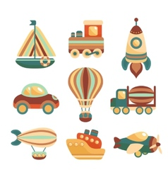 Transport Toys Icons Set vector image