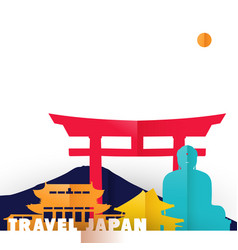 Travel japan country paper cut world monuments vector