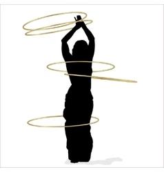 Woman dancing with many hula hoops vector image