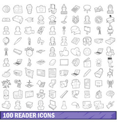 100 reader icons set outline style vector