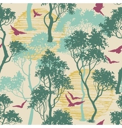 Forest birds seamless pattern vector image