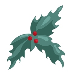 Holly berry christmas symbol icon cartoon style vector