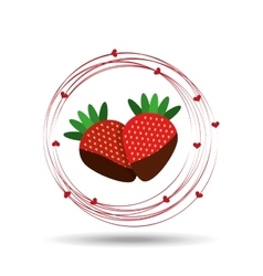 Delicious strawberry chocolate and hearts design vector