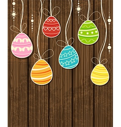 Eggs on wood vector