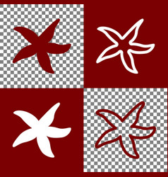 Sea star sign  bordo and white icons and vector