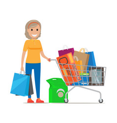 Woman with shopping trolley make purchases at mall vector
