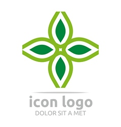 Logo icon leaves green design symbol abstract vector