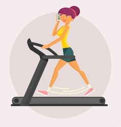 Girl on treadmill trainer vector